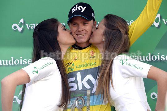 Chris Froome sul podio del Giro di Romandia 2014