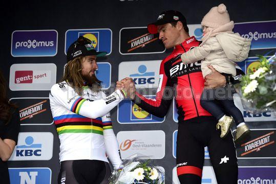 Peter Sagan e Greg Van Avermaet sul podio della Omloop Het Nieuwsblad - © BettiniPhoto