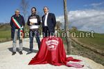 Cancellara's Sector Milestone Ceremony - 03/03/2017 - Fabian Cancellara (SUI) - Mauro Vegni (ITA - RCS Sport) - Paolo Bonari (ITA - Mayor of Aasciano) - photo Luca Bettini/BettiniPhoto©2017