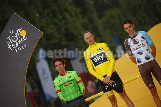 Tour de France 2017 - 104th Edition - 21th stage Montgeron - Paris 103 km - 23/07/2017 - Rigoberto Uran (COL - Cannondale - Drapac) - Christopher Froome (GBR - Team Sky) - Romain Bardet (FRA  - AG2R - La Mondiale) - Photo Luca Bettini/BettiniPhoto©2017