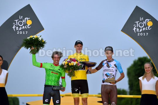 Tour de France 2017 - 104th Edition - 21th stage Montgeron - Paris 103 km - 23/07/2017 - Christopher Froome (GBR - Team Sky) - Rigoberto Uran (COL - Cannondale - Drapac) - Romain Bardet (FRA  - AG2R - La Mondiale) - Photo TDW/BettiniPhoto©2017