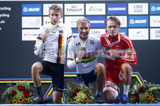Road World Championship Bergen 2017 - UCI Under 23 Road Race 191 km - 22/09/2017 - Benoit Cosnefroy (France) - Lennard Kamna (Germany) - Michael Cabel Svendgaard (Denmark) - Photo Luca Bettini/BettiniPhoto©2017