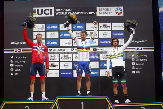 Road World Championship Bergen 2017 - UCI Men Elite' Road Race 267,5 km - 24/09/2017 - Peter Sagan (SVK - Bora - Hansgrohe) - Alexander Kristoff (NOR - Katusha - Alpecin) - Matteo Trentin (ITA - QuickStep - Floors) - Photo Luca Bettini/BettiniPhoto©2017