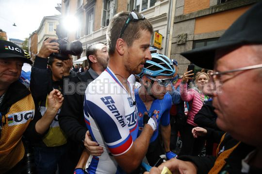 Road World Championship Bergen 2017 - UCI Men Elite' Road Race 267,5 km - 24/09/2017 - Peter Sagan (Slovakia) - Elia Viviani (Italy) - Photo Luca Bettini/BettiniPhoto©2017