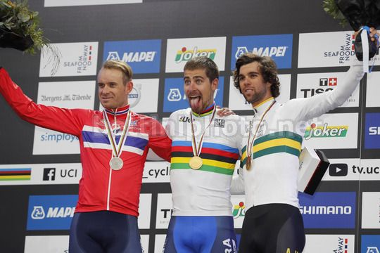 Road World Championship Bergen 2017 - UCI Men Elite' Road Race 267,5 km - 24/09/2017 - Peter Sagan (Slovakia) - Alexander Kristoff (Norway) - Michael Matthews (Australia) - Photo Luis Angel Gomez/BettiniPhoto©2017