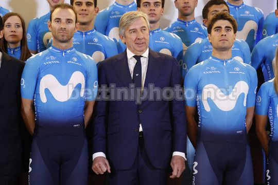 Presentation Movistar Team 2018 - Madrid - Spain - 14/12/2017 - Alejandro Valverde (ESP - Movistar) - Eusebio Unzue (ESP - Movistar) - Nairo Quintana (COL - Movistar) - Photo Luis Angel Gomez/BettiniPhoto©2017