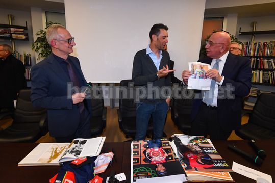Vincenzo Nibali at the Museum of Ghisallo 2018 - Museo del Ghisallo - 20/02/2018 - Vincenzo Nibali (ITA - Bahrain - Merida) - Adriano Galliani - Luca Gialanella - Photo Dario Belingheri/BettiniPhoto©2018