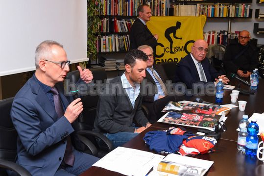 Vincenzo Nibali at the Museum of Ghisallo 2018 - Museo del Ghisallo - 20/02/2018 - Vincenzo Nibali (ITA - Bahrain - Merida) - Luca Gialanella - Adriano Galliani - Photo Dario Belingheri/BettiniPhoto©2018