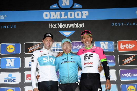 Omloop Het Nieuwsblad 2018 - 73th Edition - Gand - Meerbeke 196.2km - 24/02/2018 - Michael Valgren (DEN - Astana Pro Team) - Lukasz Wisniowski (POL - Team Sky) - Sep Vanmarcke (BEL - EF Education First - Drapac) - Photo Peter De Voecht/PN/BettiniPhoto©20