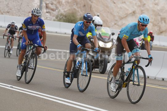 Abu Dhabi Tour 2018 - 4th Edition - 5th stage Airports stage Qasr Al Muwaiji - Jebel Hafeet 199 km - 25/02/2018 - Miguel Angel Lopez (COL - Astana Pro Team) - Alejandro Valverde (ESP - Movistar) - Julian Alaphilippe (FRA - QuickStep - Floors) - Photo Robe